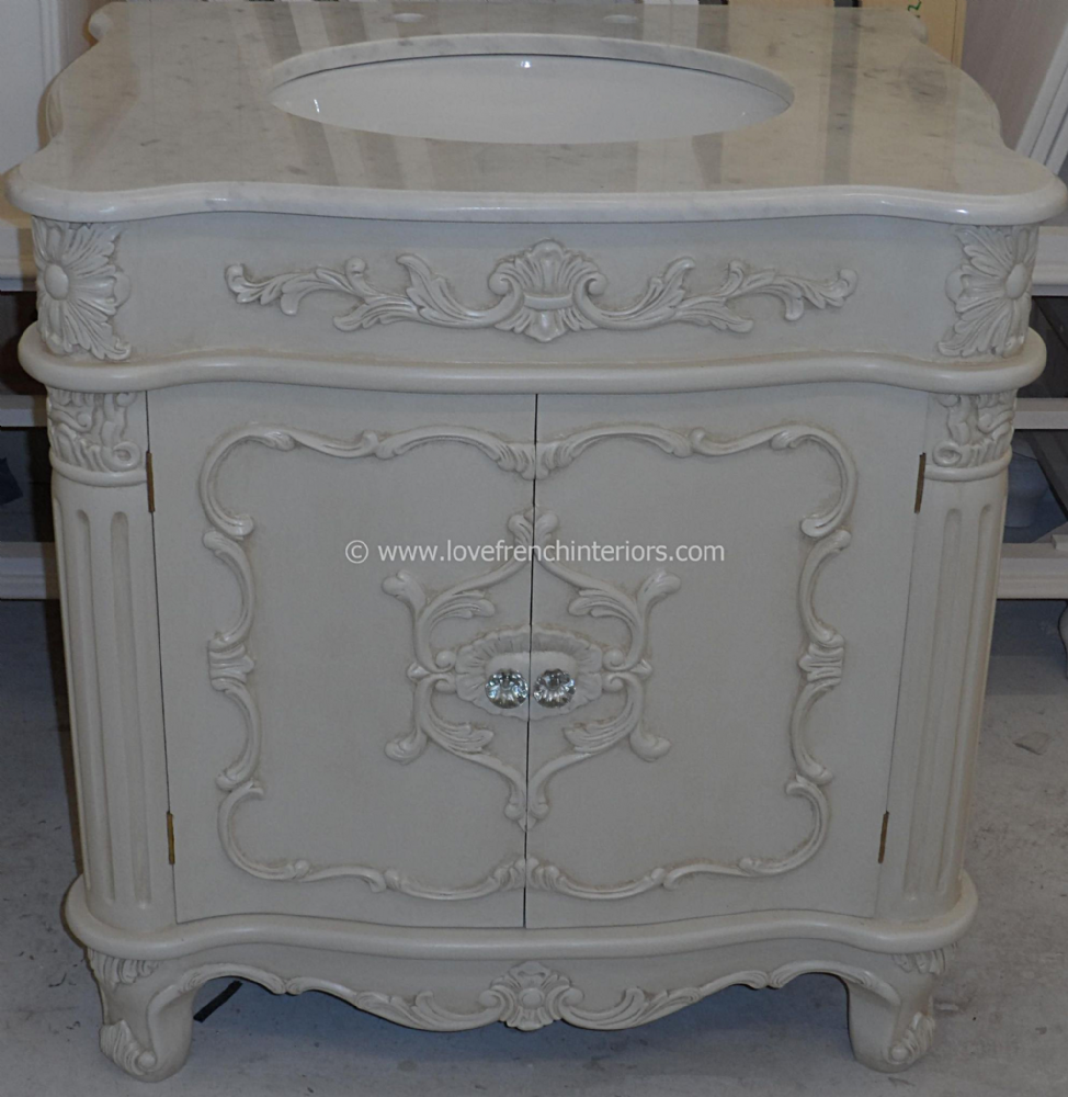 Bespoke ornate single french vanity unit with solid marble top - Marble top bathroom vanity units ...